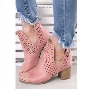 Shoes - Pink Suede V Cut Laser Cutout Peep Toe Bootie